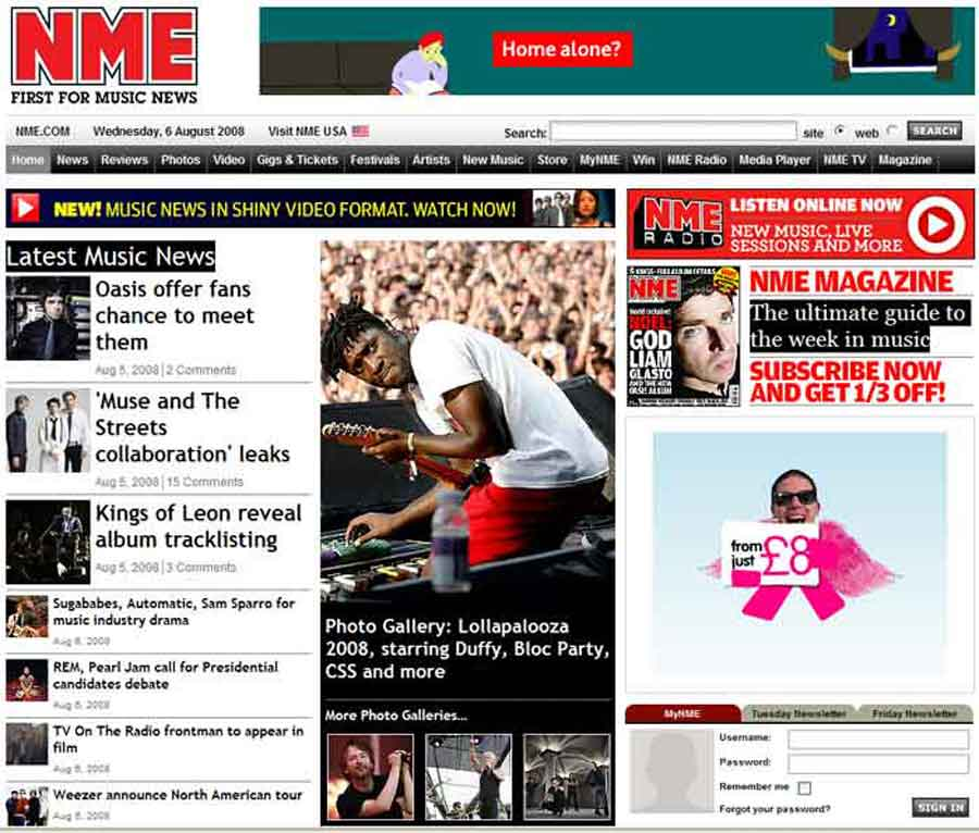 NME.com doing well in the fiercely competitive music sector