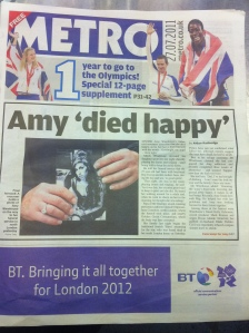 Amy Winehouse dies story in Metro